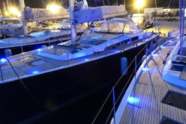 sailing yacht at night